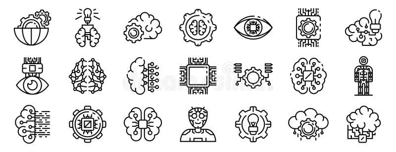 Symbolsuppsättning för konstgjord intelligens, översiktsstil stock illustrationer