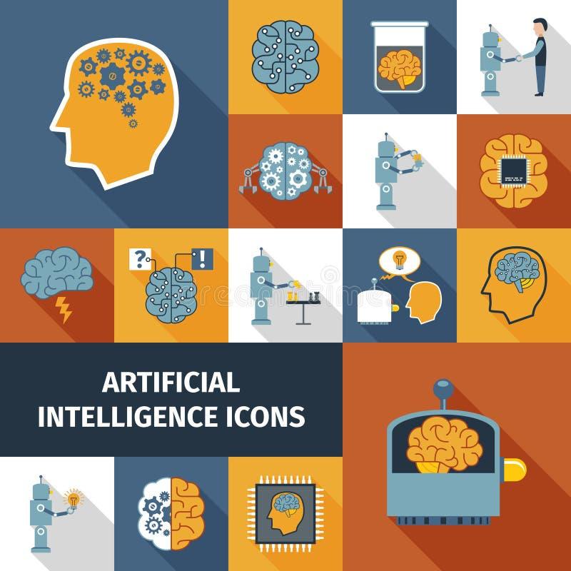 Symbolsuppsättning för konstgjord intelligens royaltyfri illustrationer