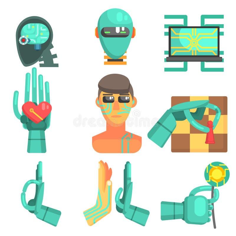 Symbolsuppsättning för konstgjord intelligens vektor illustrationer