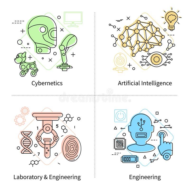 Symbolsuppsättning för konstgjord intelligens stock illustrationer