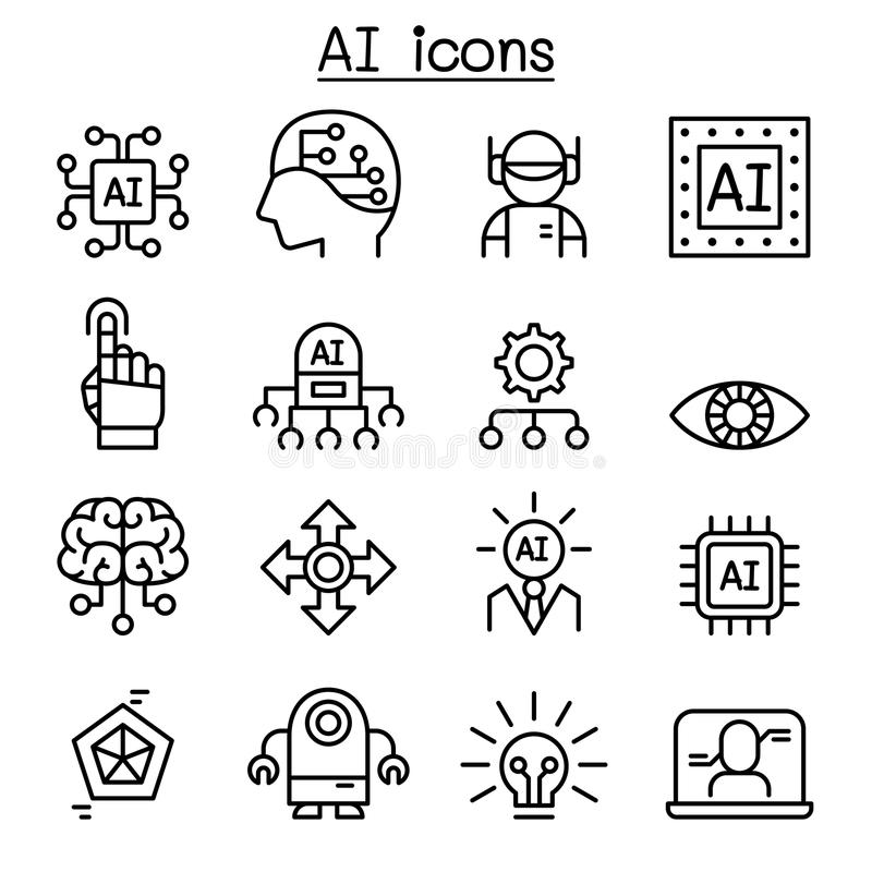 Symbolsuppsättning för konstgjord intelligens i den tunna linjen stil royaltyfri illustrationer