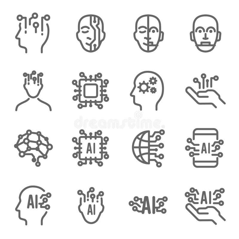 Symbolsuppsättning för konstgjord intelligens Innehåller sådana symboler som AI, robotteknik, teknologi, Brain Processing, Androi royaltyfri illustrationer