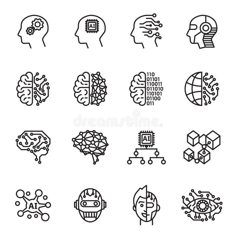 Symbolsuppsättning för konstgjord intelligens Linje stilmaterielvektor royaltyfri illustrationer