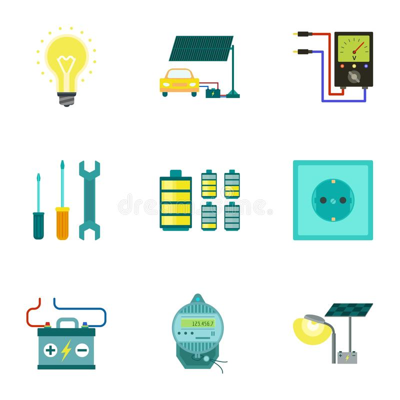 Symbolsuppsättning för ljus energi, plan stil stock illustrationer