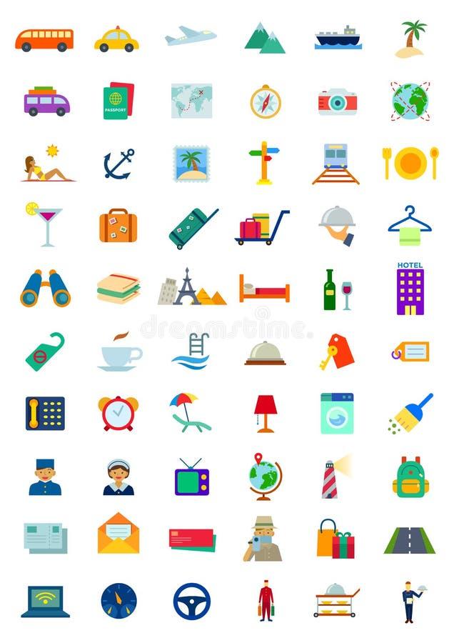 Symbolsuppsättning för 60 lopp & gästfrihet stock illustrationer
