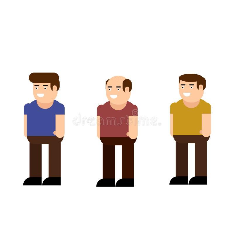 Symbolsuppsättning för manligt tecken vektor illustrationer