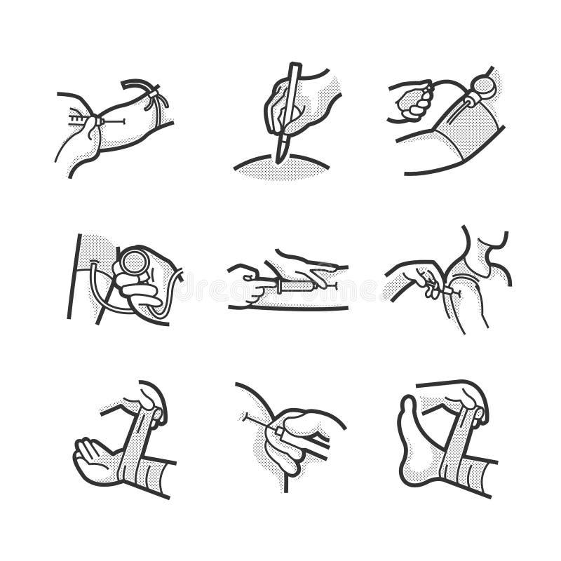 Symbolsuppsättning för medicinsk patient royaltyfri fotografi