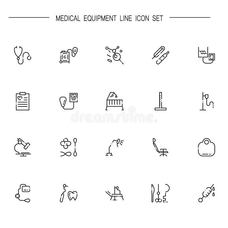 Symbolsuppsättning för medicinsk utrustning royaltyfri illustrationer