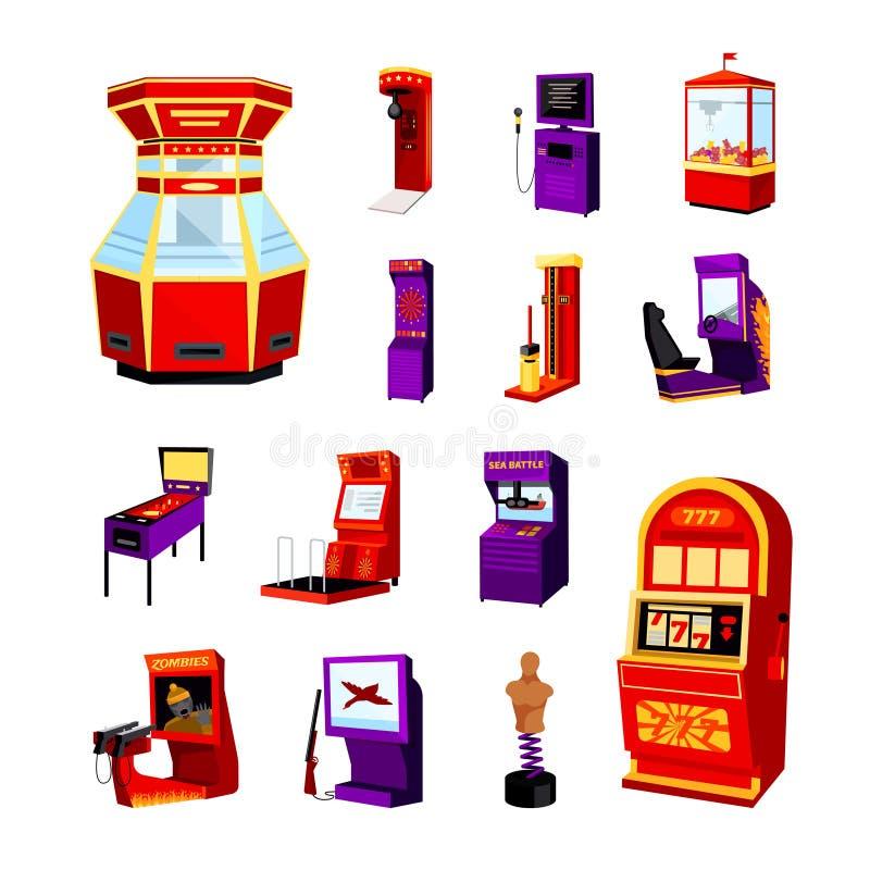 Symbolsuppsättning för modig maskin vektor illustrationer