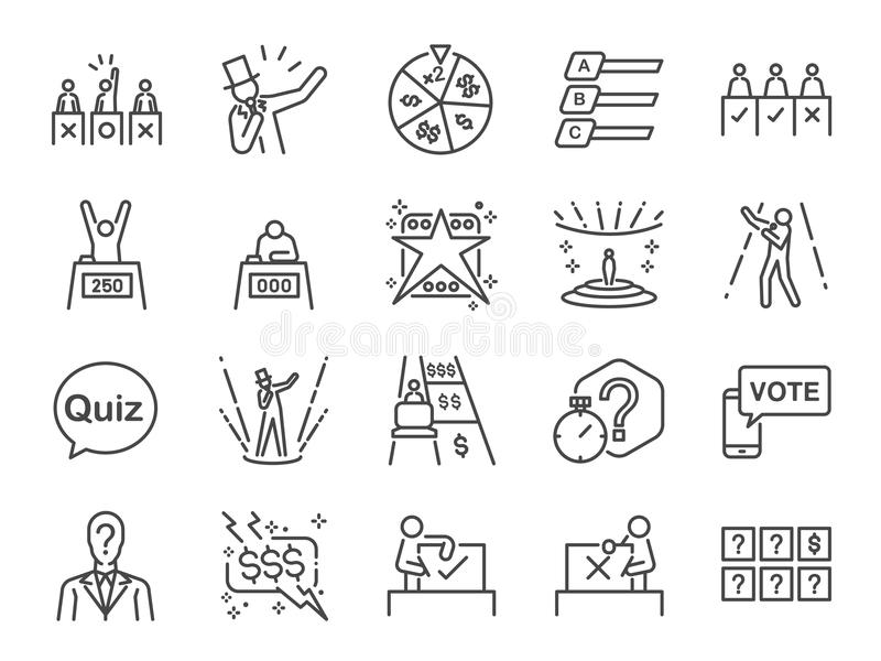 Symbolsuppsättning för modig show Inklusive symbolerna som sångare, frågesport, pris, konkurrens, strid som bedömer panelen, TVpr royaltyfri illustrationer