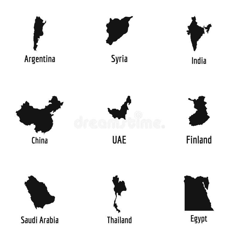 Symbolsuppsättning för mottagare land, enkel stil stock illustrationer