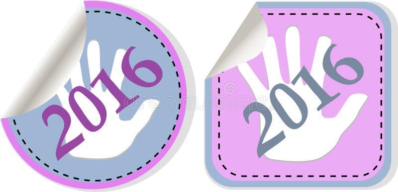 symbolsuppsättning 2016 för nytt år nya år original- modern design för symbol för rengöringsduken och mobilen app royaltyfri illustrationer