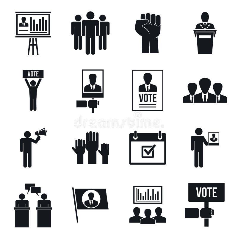 Symbolsuppsättning för politiskt möte, enkel stil vektor illustrationer
