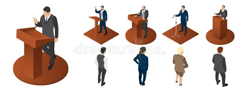 Symbolsuppsättning för politiskt möte, isometrisk stil stock illustrationer