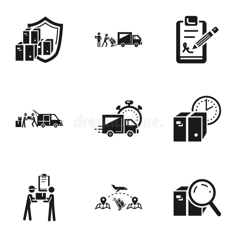 Symbolsuppsättning för post- leverans, enkel stil stock illustrationer