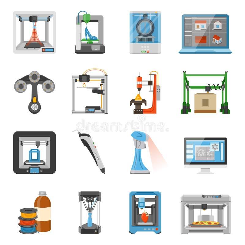 symbolsuppsättning för printing 3D stock illustrationer
