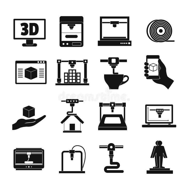 symbolsuppsättning för printing 3D, enkel stil stock illustrationer