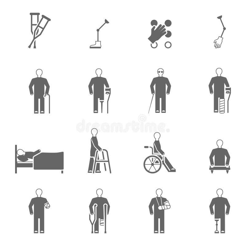 Symbolsuppsättning för rörelsehindrat folk stock illustrationer