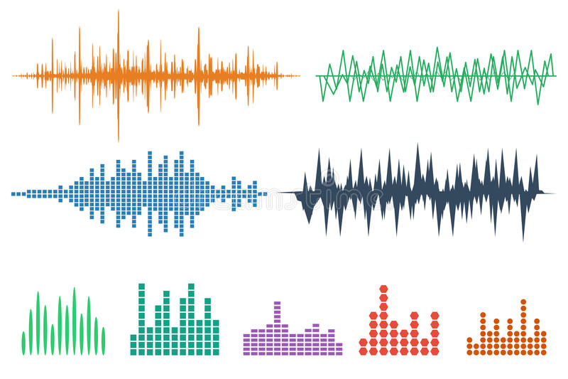 Symbolsuppsättning för solid våg Uppsättning för musiksoundwavesymboler Kvittera ljudsignal a stock illustrationer