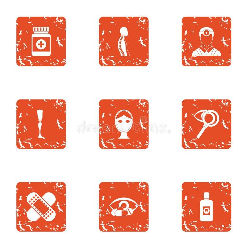 Symbolsuppsättning för stadigt tillstånd, grungestil stock illustrationer
