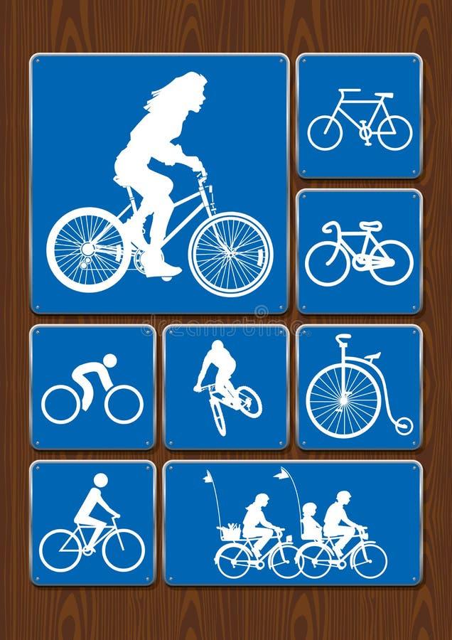 Symbolsuppsättning för utomhus- aktivitet: kvinnan på cykeln som cyklar, familj går på, den gamla cykeln Symboler i blåttfärg på  royaltyfri illustrationer