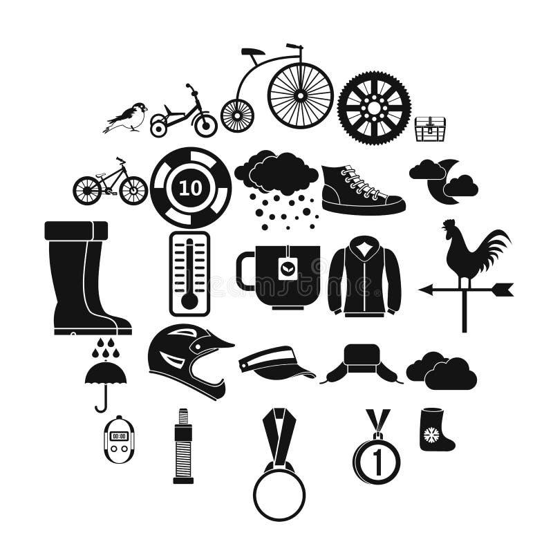 Symbolsuppsättning för utomhus- sportar, enkel stil vektor illustrationer
