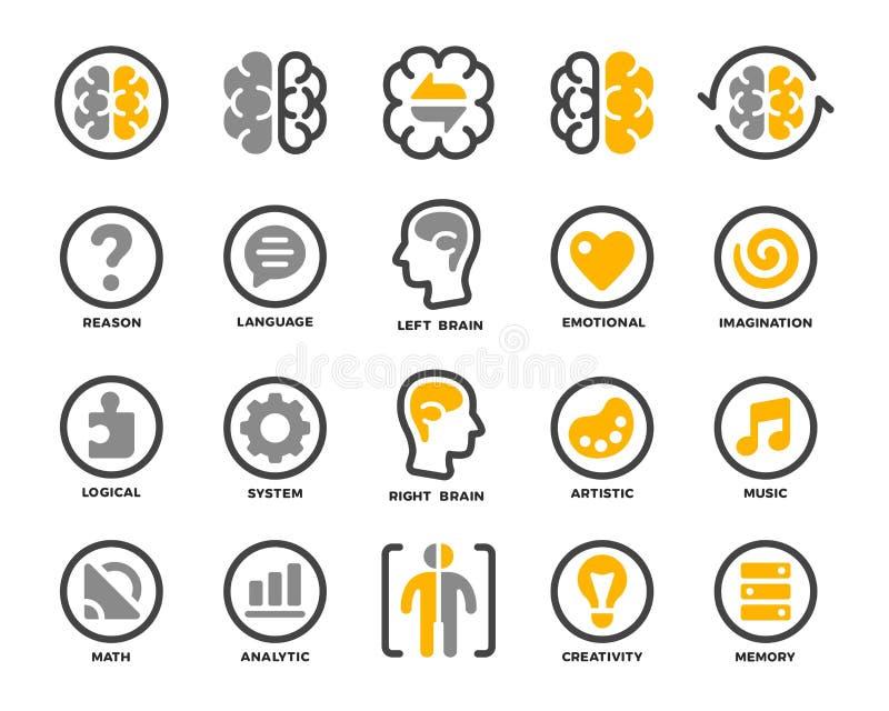 Symbolsuppsättning för vänster och höger hjärna stock illustrationer