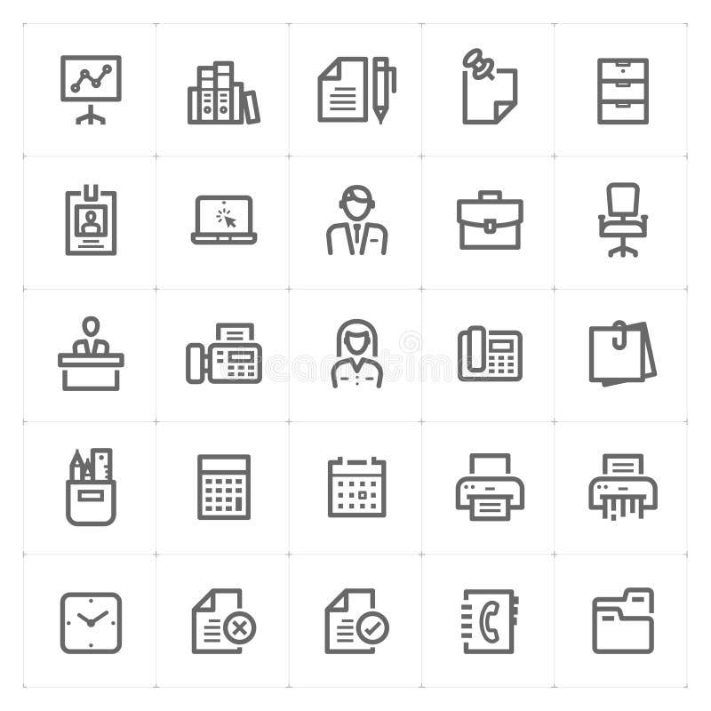 Symbolsuppsättning - kontor och stationär översiktsslaglängd stock illustrationer