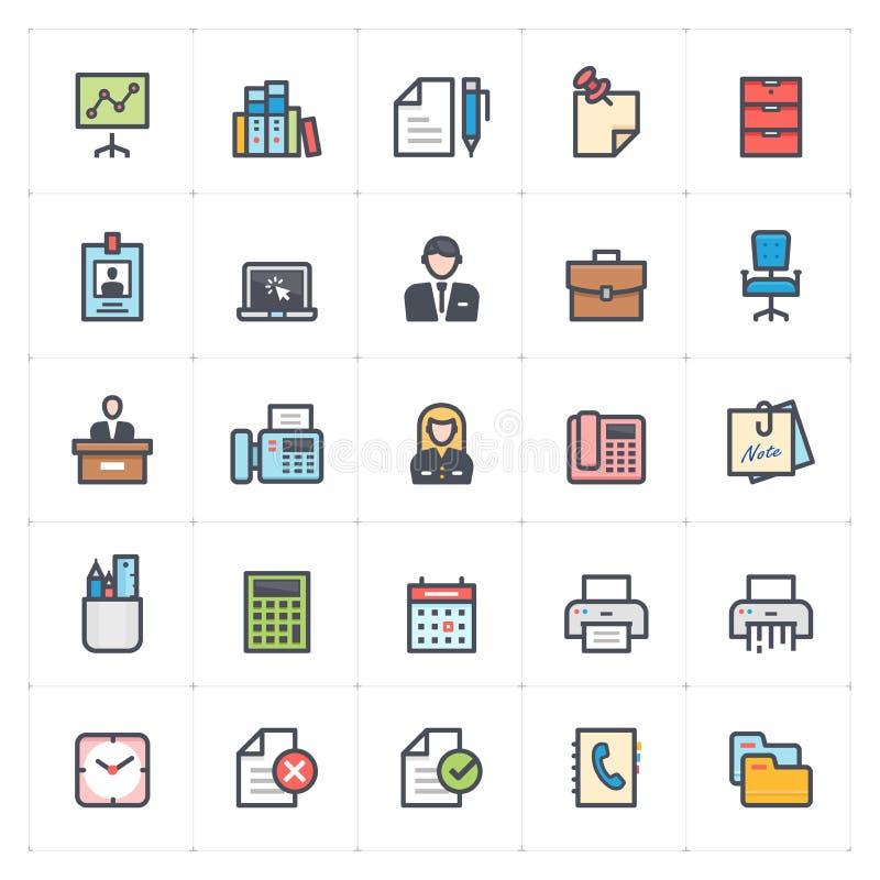 Symbolsuppsättning - kontor och stationär översiktsslaglängd för full färg vektor illustrationer