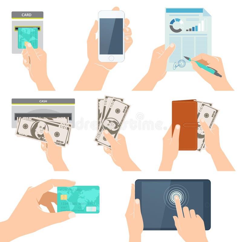 Symbolsuppsättning med händer som rymmer kreditkorten, smartphonen, pengar och nolla stock illustrationer