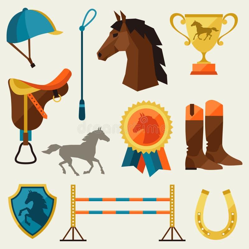 Symbolsuppsättning med hästutrustning i plan stil stock illustrationer