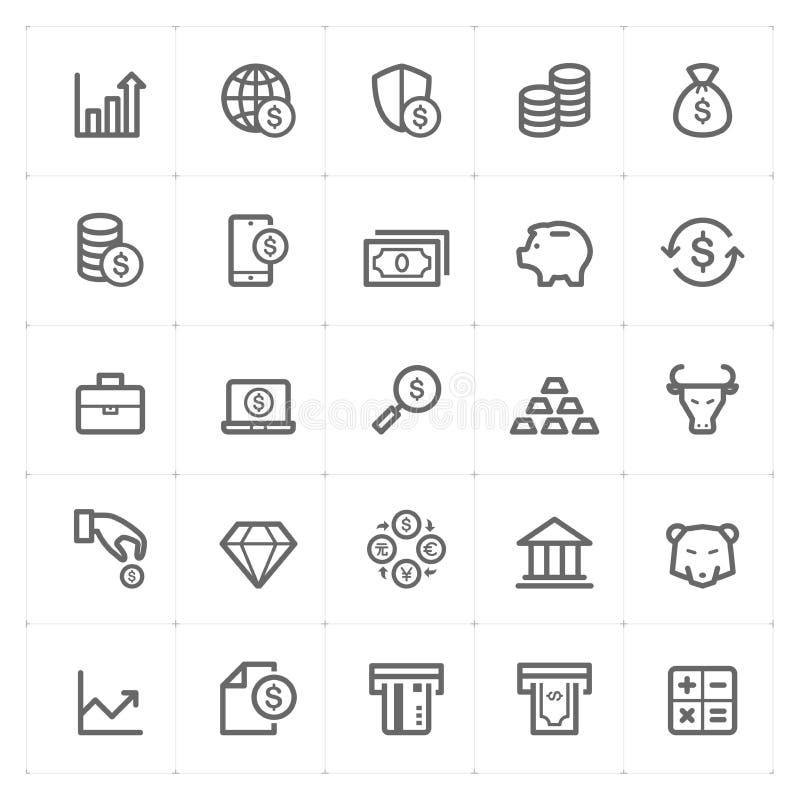 Symbolsuppsättning - pengar och finansöversiktsslaglängd royaltyfri illustrationer