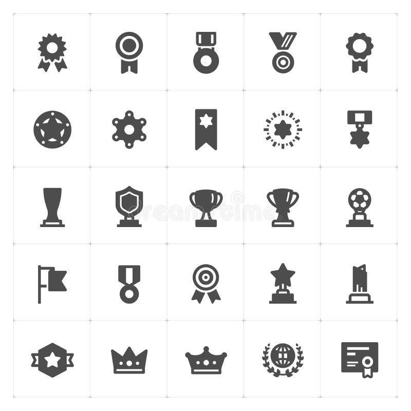 Symbolsuppsättning - trofén och utmärkelser fyllde symbolen vektor illustrationer
