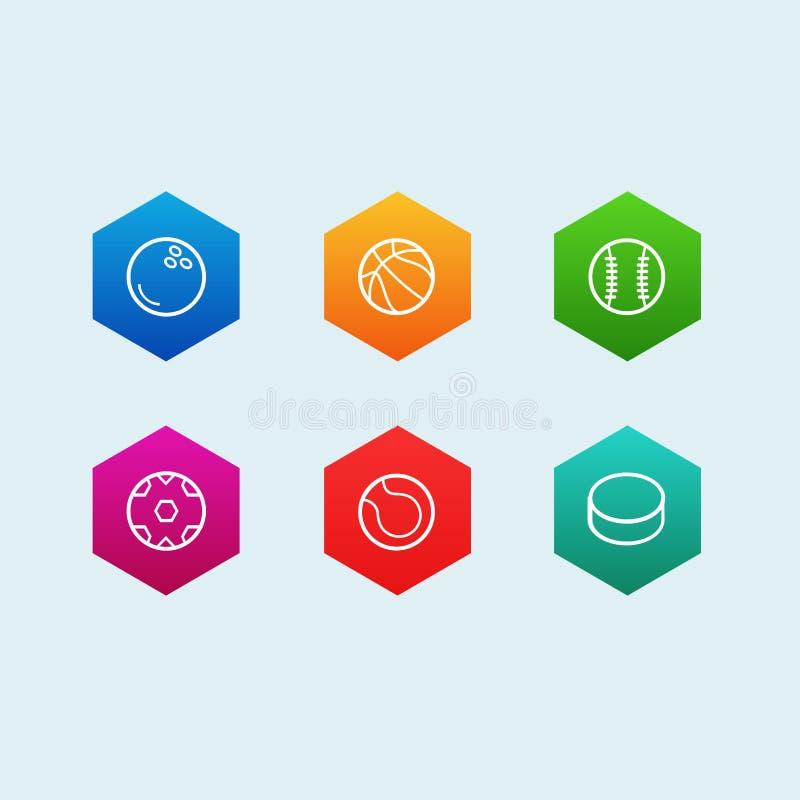 Symbolsuppsättningen av översiktsbollen inklusive tennis, basket och amerikansk fotboll klumpa ihop sig royaltyfri illustrationer
