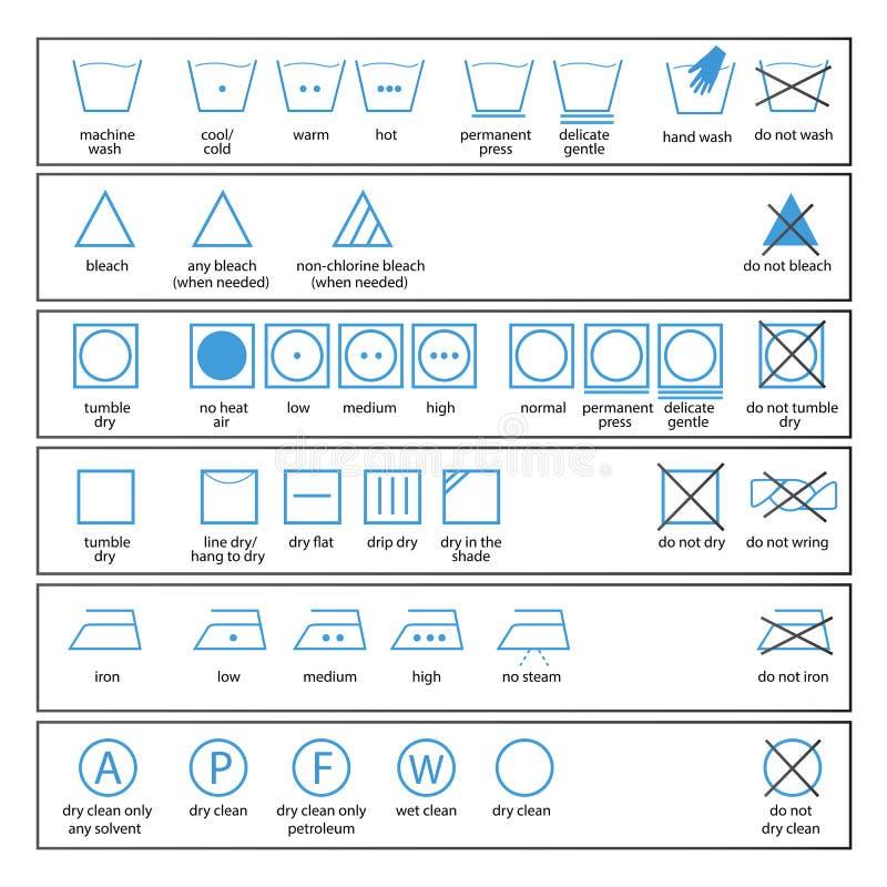 Textilomsorgsymboler royaltyfri illustrationer