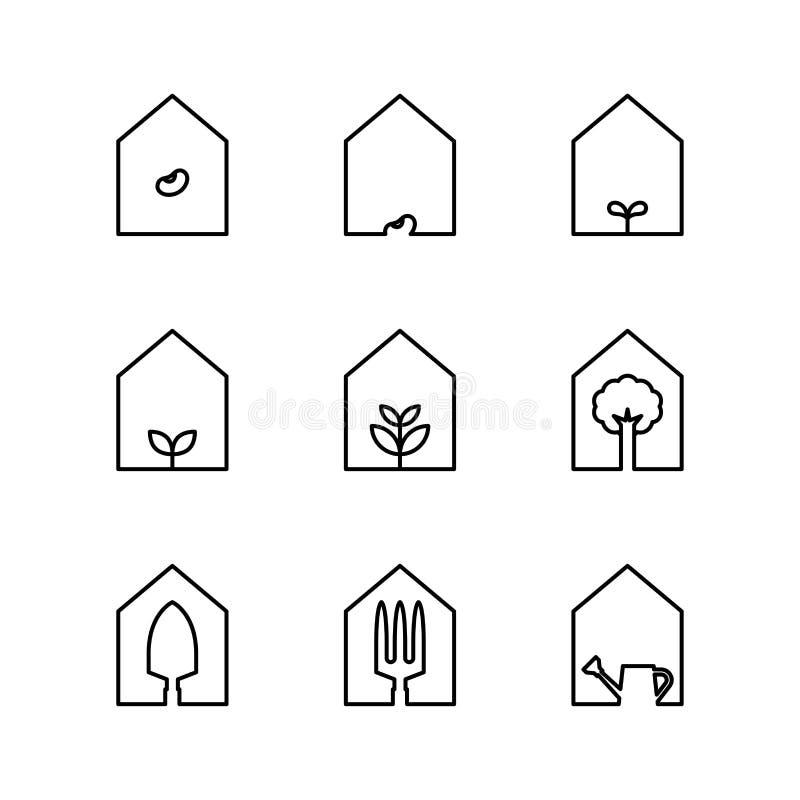 Symbolsuppsättningen för det trädgårds- hjälpmedlet och växti hus inramar svartvit färg royaltyfri illustrationer