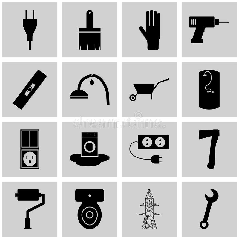 Symbolsuppsättningen som mending/vektorn som lagar symboler, grånar, kvadrerar, stock illustrationer