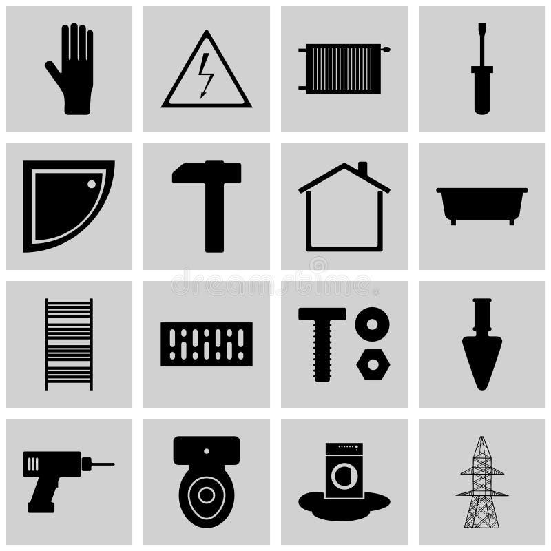 Symbolsuppsättninggrå färger, fyrkant,/refit för symbol för symbolsrefit/vektor royaltyfri illustrationer
