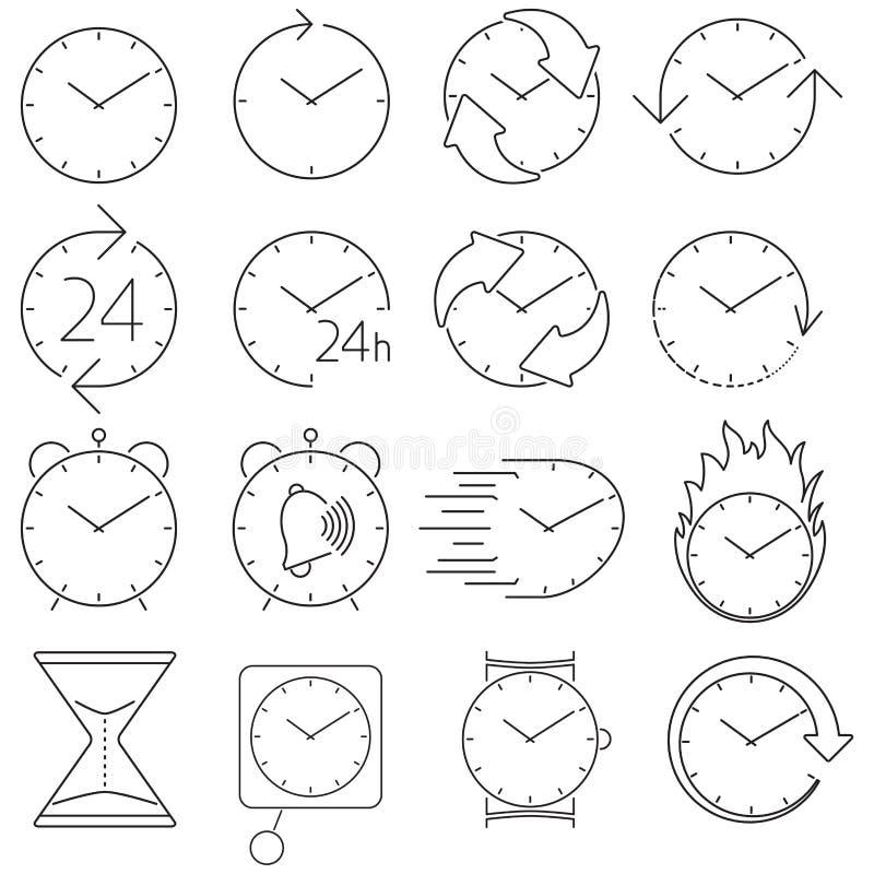 Symbolsuppsättningklocka vektor illustrationer