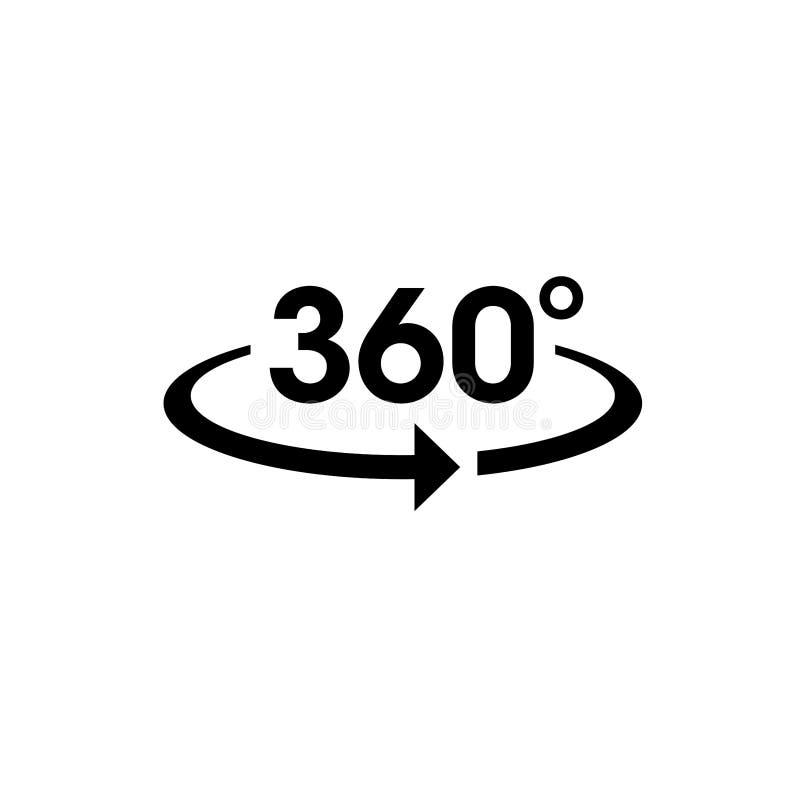 Symbolsvektor av 360 grad app för sikt för 360 område och cirkulärpilar royaltyfri illustrationer