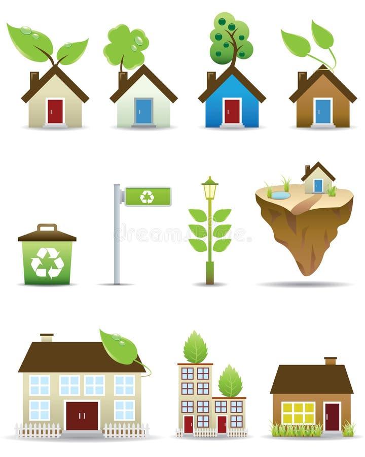 symbolsvektor för grönt hus vektor illustrationer