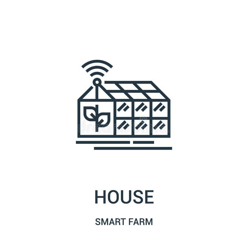 symbolsvektor för grönt hus från smart lantgårdsamling Tunn linje för översiktssymbol för grönt hus illustration för vektor stock illustrationer