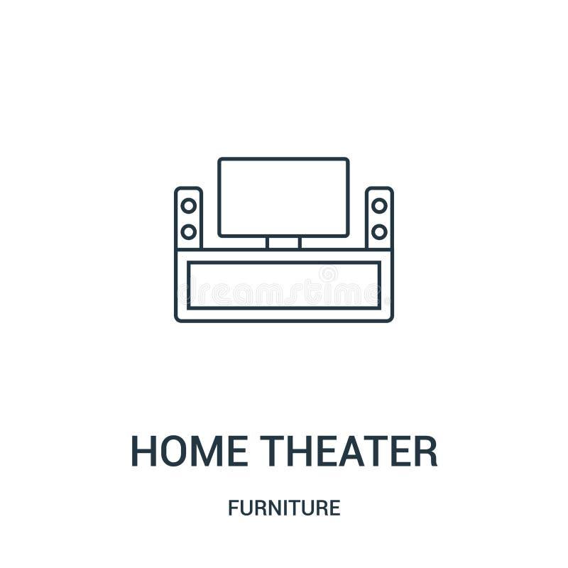symbolsvektor för hem- teater från möblemangsamling Tunn linje illustration för vektor för symbol för översikt för hemteater Linj vektor illustrationer
