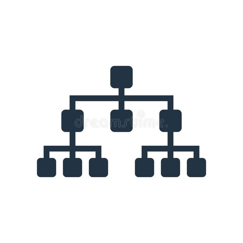 Symbolsvektor för hierarkisk struktur som isoleras på vit bakgrund royaltyfri illustrationer