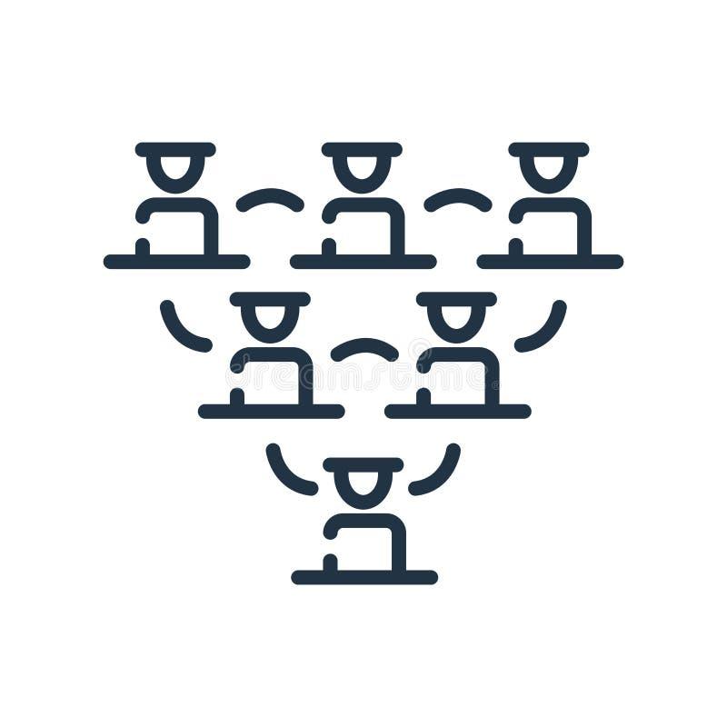 Symbolsvektor för hierarkisk struktur som isoleras på vit bakgrund, tecken för hierarkisk struktur, linjen symbol eller linjär be stock illustrationer