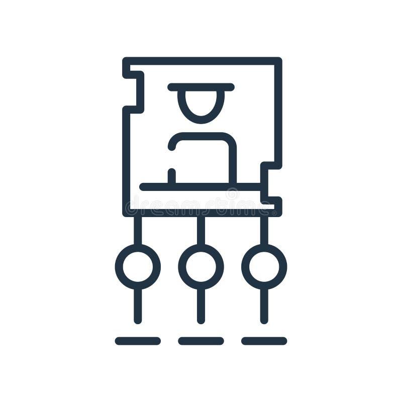 Symbolsvektor för hierarkisk struktur som isoleras på vit bakgrund, tecken för hierarkisk struktur, linjen symbol eller linjär be royaltyfri illustrationer