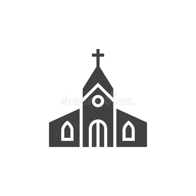 Symbolsvektor för kyrklig byggnad, fyllt plant tecken, fast pictogram I stock illustrationer