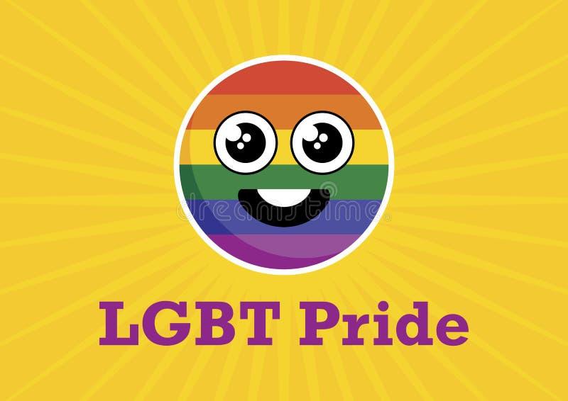 Symbolsvektor för LGBT Pride Rainbow Smiley royaltyfri illustrationer