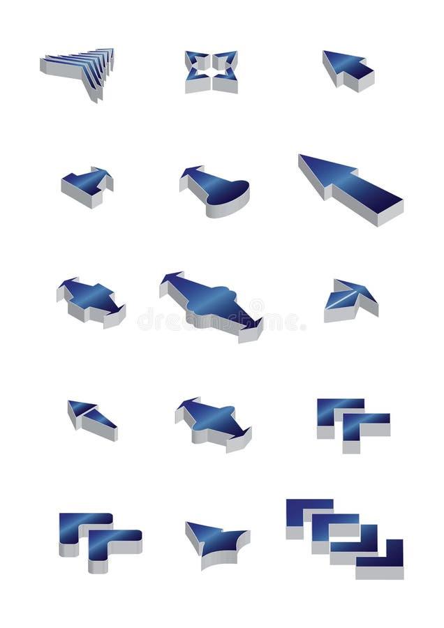 symbolsvektor för pil 3d stock illustrationer
