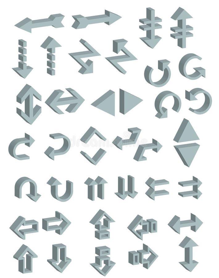 symbolsvektor för pilar 3d royaltyfri illustrationer